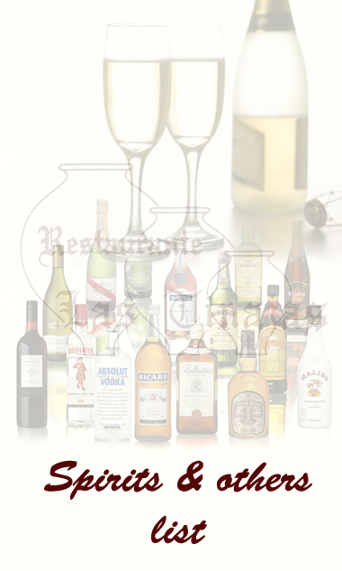 Spirits and other drinks list